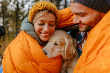 hug-your-dog-while-camping